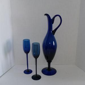 VTG Cobalt Blue Art Glass Wine Cordial Danter Set
